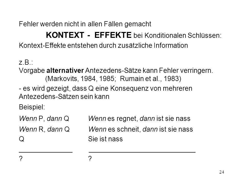 KONTEXT - EFFEKTE bei Konditionalen Schlüssen: