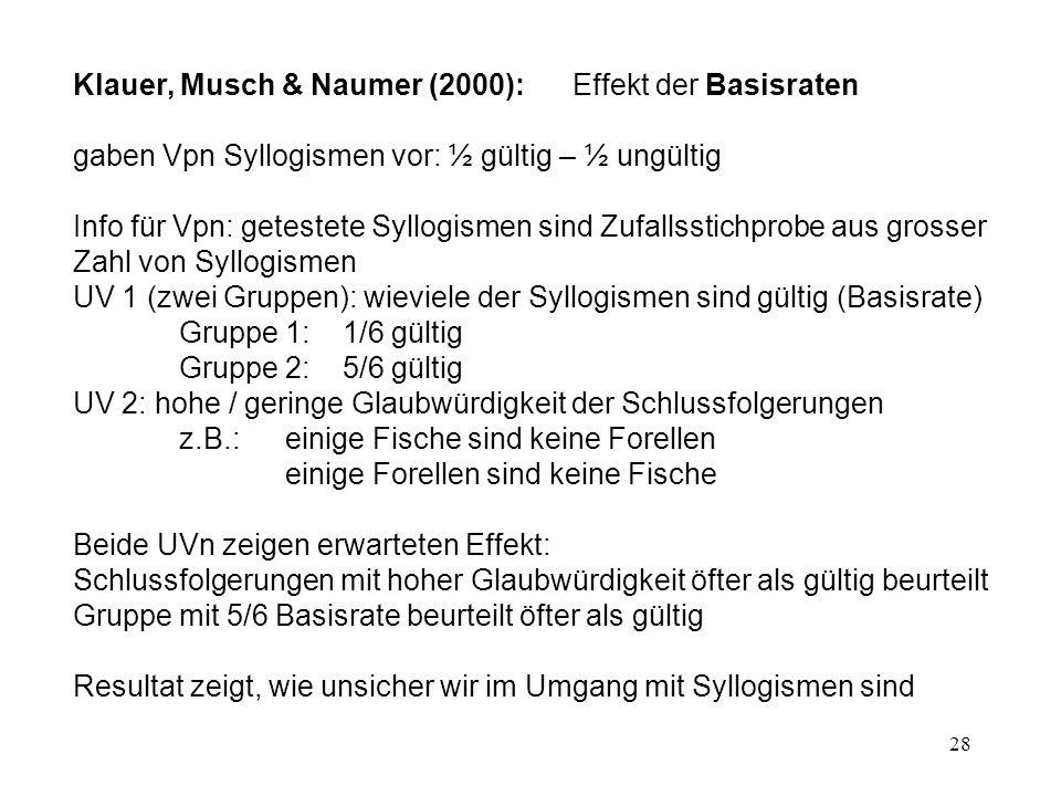 Klauer, Musch & Naumer (2000): Effekt der Basisraten