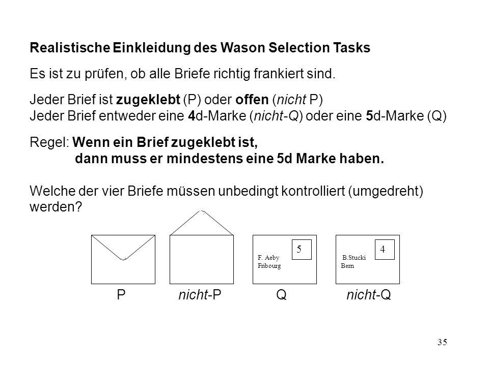 Realistische Einkleidung des Wason Selection Tasks