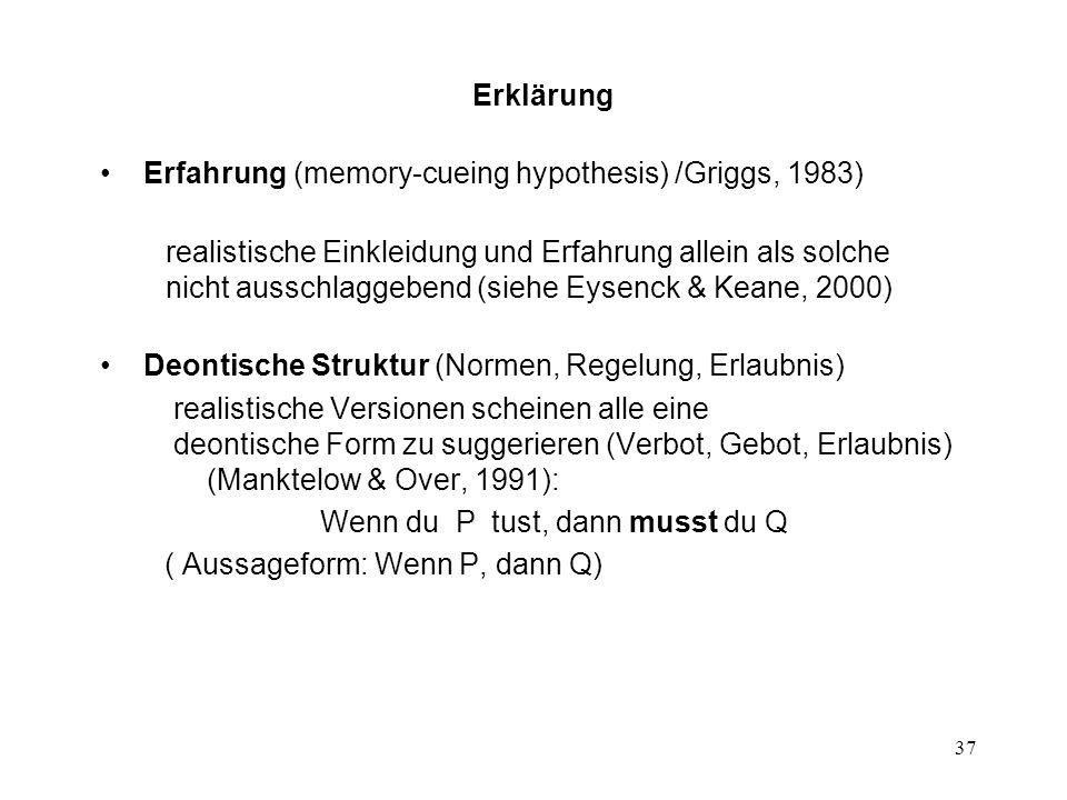 Erklärung Erfahrung (memory-cueing hypothesis) /Griggs, 1983)