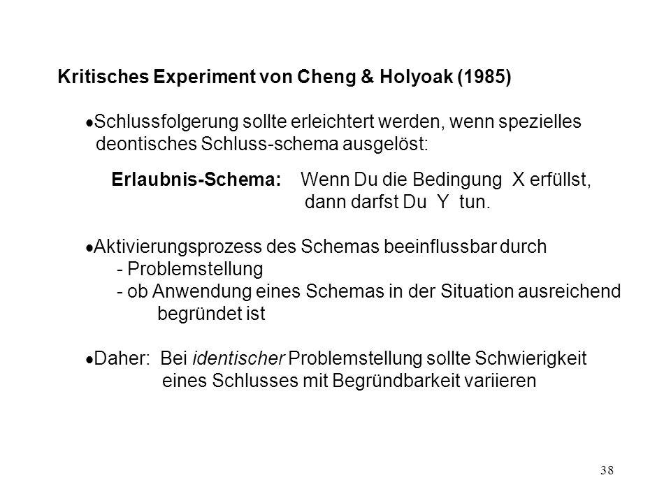 Kritisches Experiment von Cheng & Holyoak (1985)