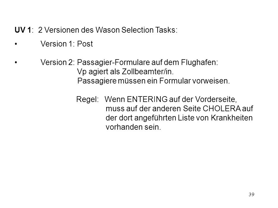 UV 1: 2 Versionen des Wason Selection Tasks: