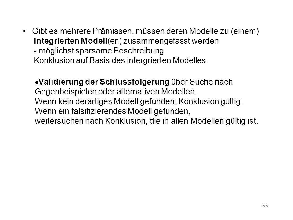 Gibt es mehrere Prämissen, müssen deren Modelle zu (einem) integrierten Modell(en) zusammengefasst werden - möglichst sparsame Beschreibung Konklusion auf Basis des intergrierten Modelles