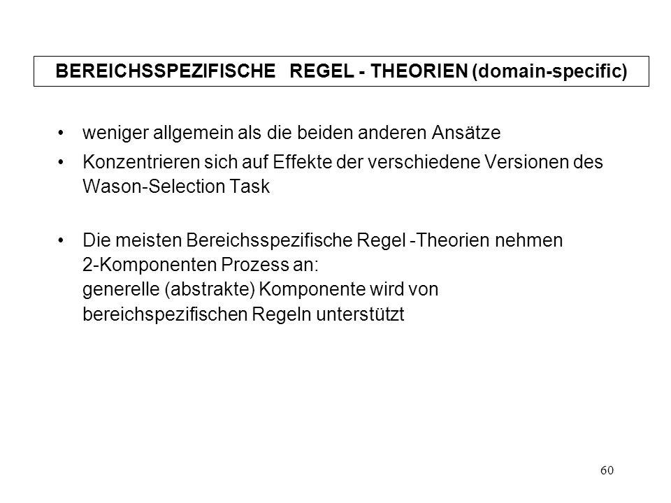 BEREICHSSPEZIFISCHE REGEL - THEORIEN (domain-specific)