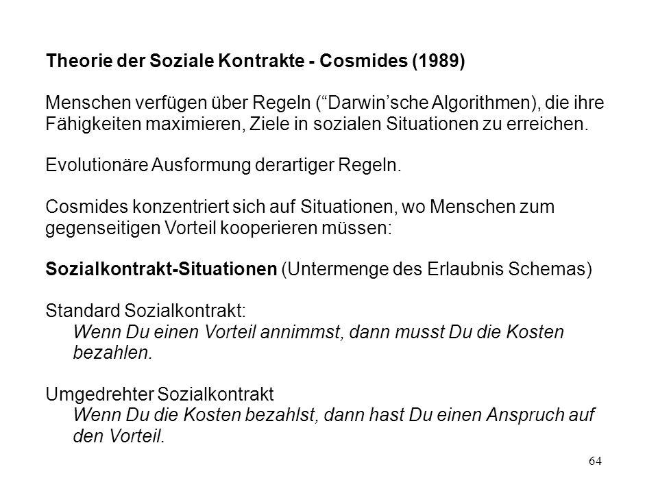 Theorie der Soziale Kontrakte - Cosmides (1989)