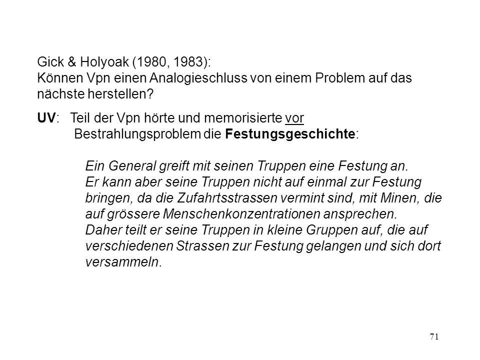 Gick & Holyoak (1980, 1983): Können Vpn einen Analogieschluss von einem Problem auf das nächste herstellen