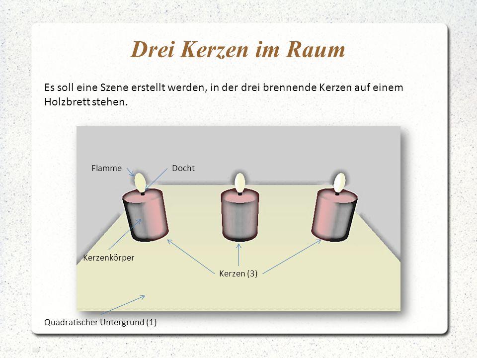 Drei Kerzen im Raum Es soll eine Szene erstellt werden, in der drei brennende Kerzen auf einem. Holzbrett stehen.