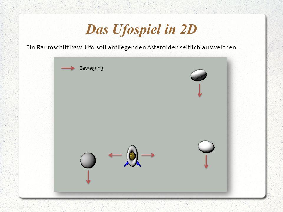Das Ufospiel in 2D Ein Raumschiff bzw. Ufo soll anfliegenden Asteroiden seitlich ausweichen.