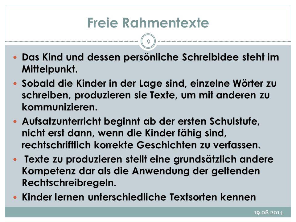 Freie Rahmentexte Das Kind und dessen persönliche Schreibidee steht im Mittelpunkt.