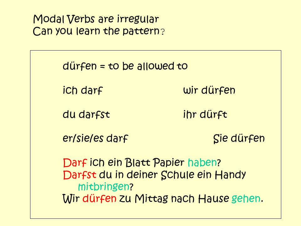 Modal Verbs are irregular