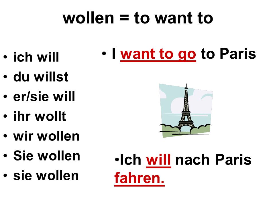 wollen = to want to I want to go to Paris Ich will nach Paris fahren.