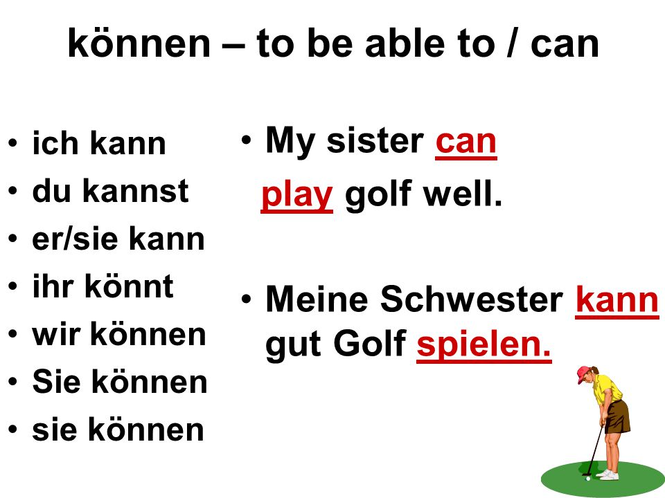 können – to be able to / can