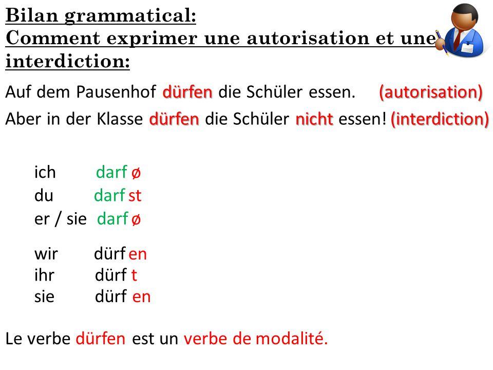 Bilan grammatical: Comment exprimer une autorisation et une interdiction: Auf dem Pausenhof dürfen die Schüler essen.