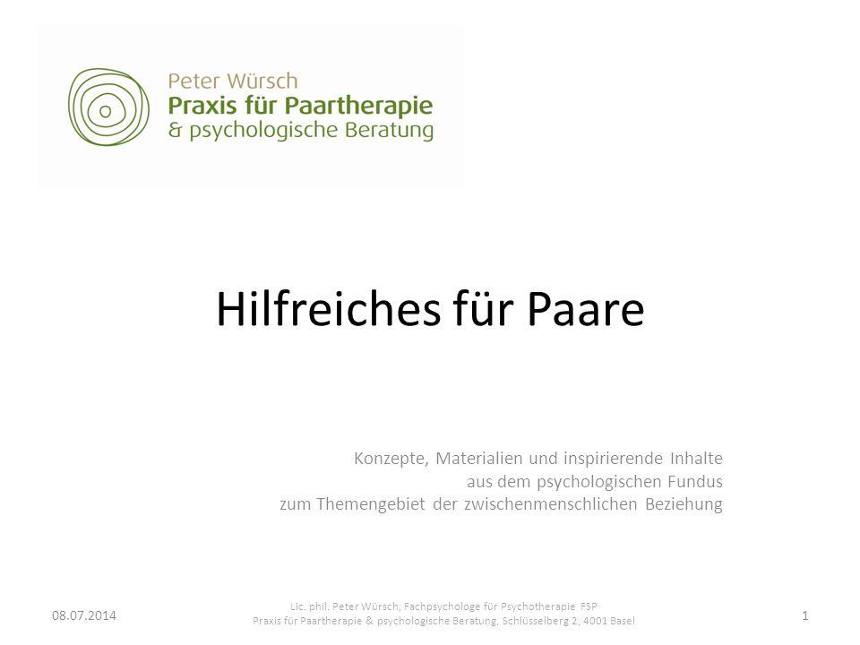 Lic. phil. Peter Würsch, Fachpsychologe für Psychotherapie FSP