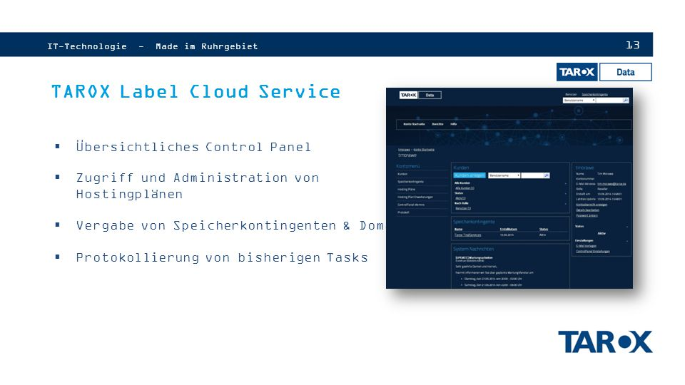 TAROX Label Cloud Service