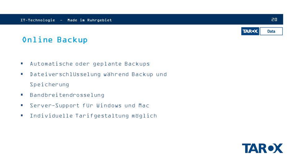 Online Backup Automatische oder geplante Backups