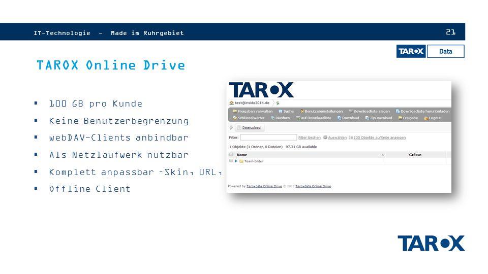 TAROX Online Drive 100 GB pro Kunde Keine Benutzerbegrenzung