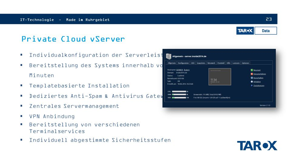 Private Cloud vServer Individualkonfiguration der Serverleistung