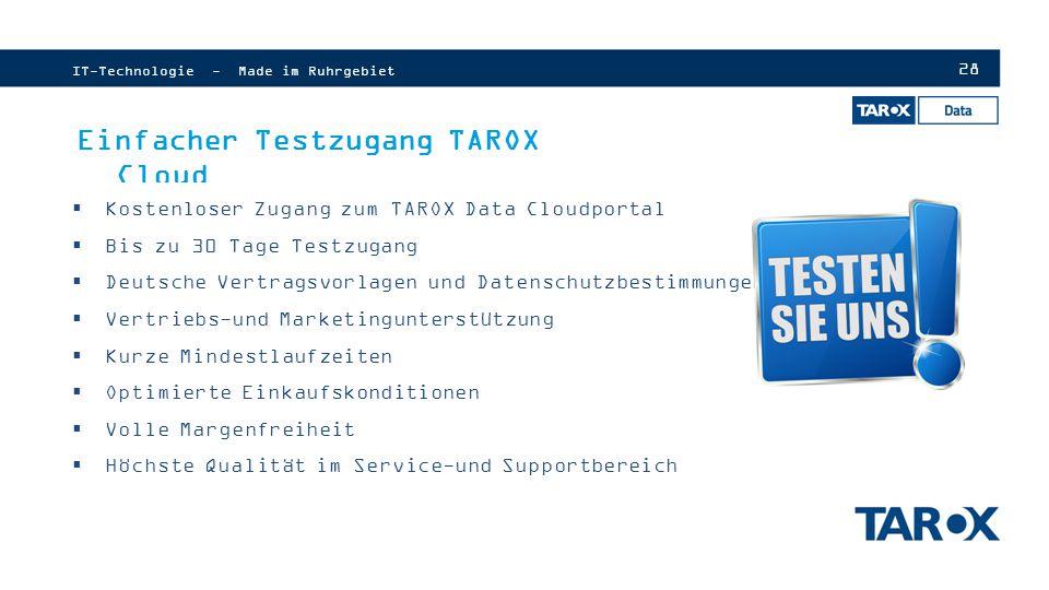Einfacher Testzugang TAROX Cloud