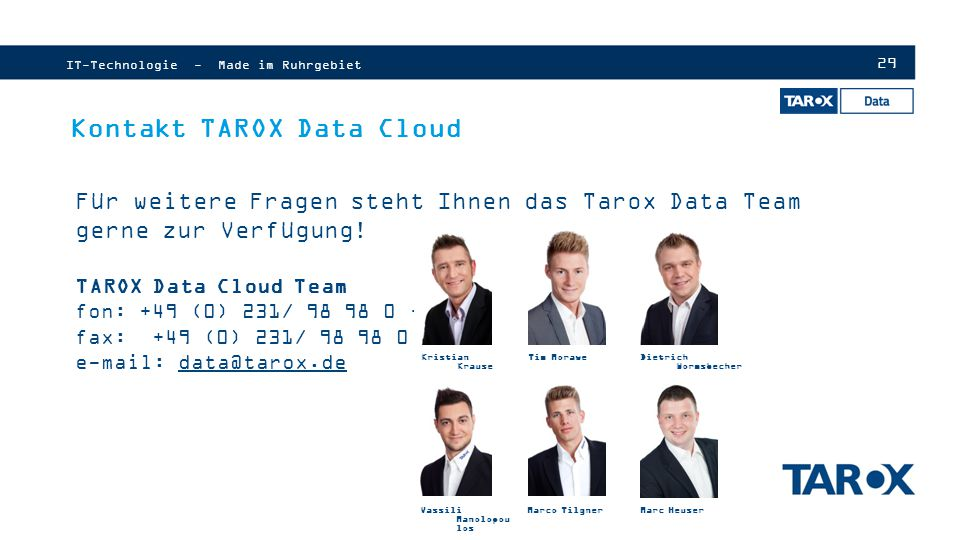 Kontakt TAROX Data Cloud