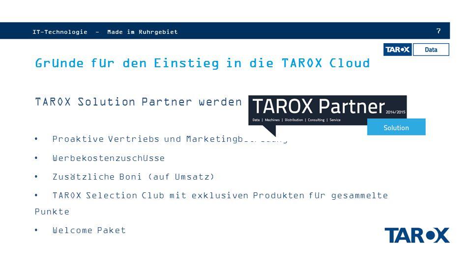 Gründe für den Einstieg in die TAROX Cloud
