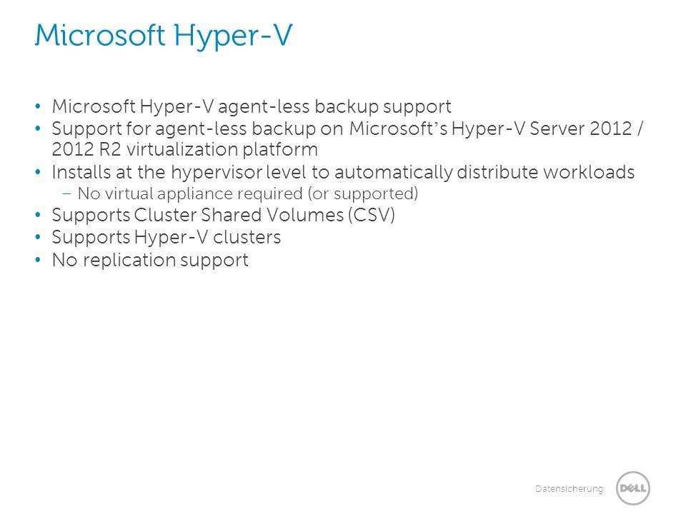 Microsoft Hyper-V Microsoft Hyper-V agent-less backup support