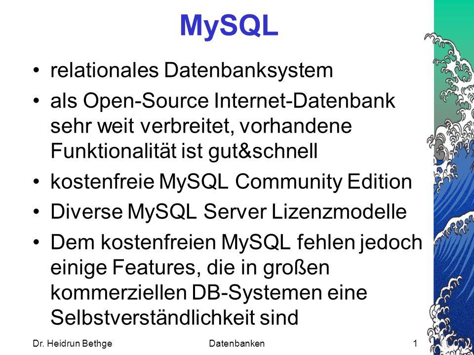 MySQL relationales Datenbanksystem