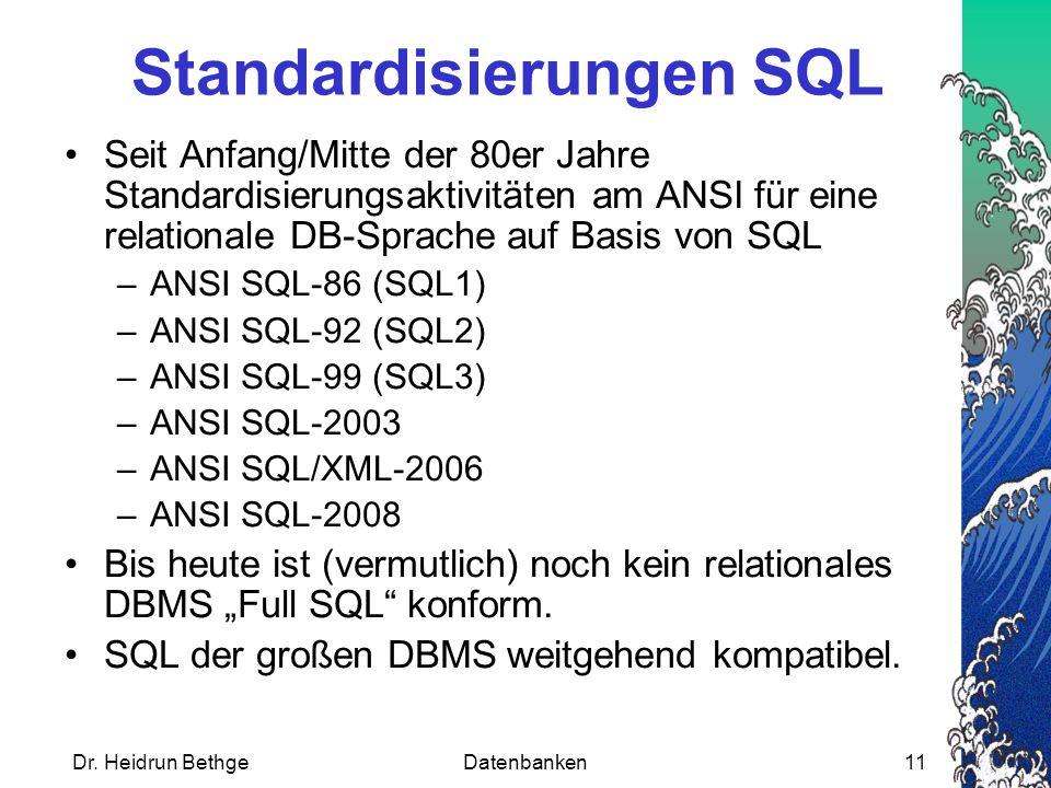 Standardisierungen SQL