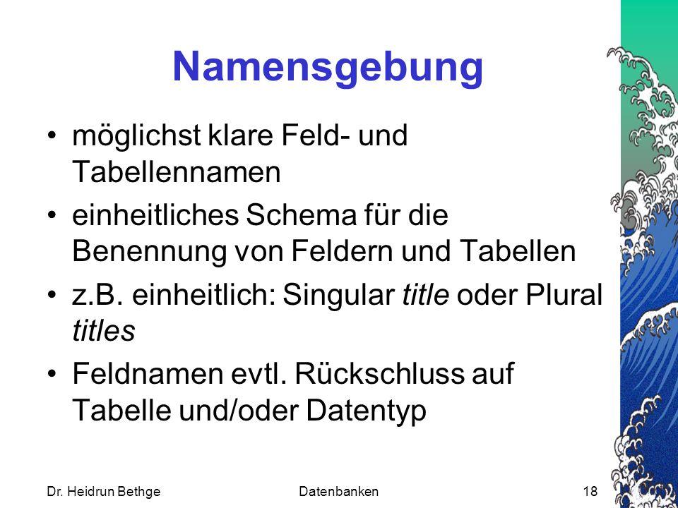 Namensgebung möglichst klare Feld- und Tabellennamen