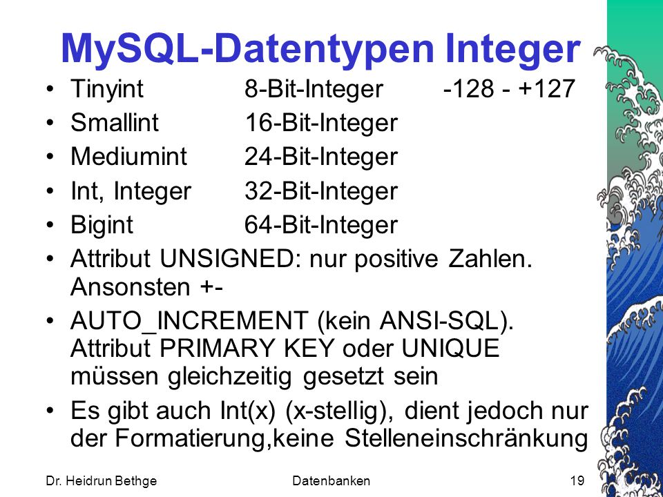 MySQL-Datentypen Integer