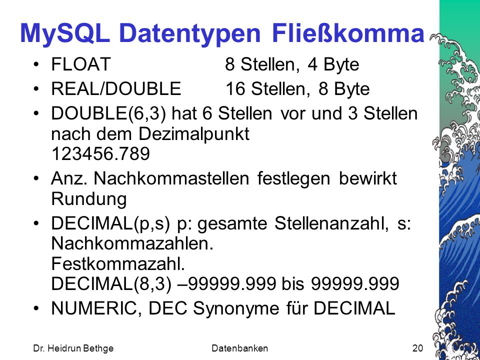 MySQL Datentypen Fließkomma