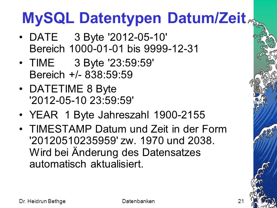 MySQL Datentypen Datum/Zeit