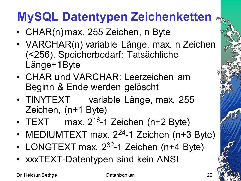 MySQL Datentypen Zeichenketten