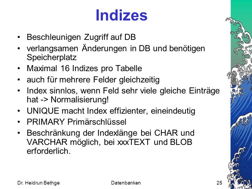 Indizes Beschleunigen Zugriff auf DB