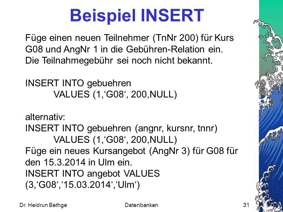 Beispiel INSERT
