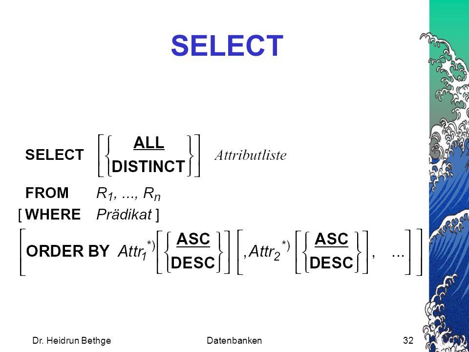 SELECT Dr. Heidrun Bethge Datenbanken