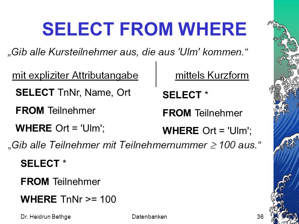 SELECT FROM WHERE SELECT TnNr, Name, Ort SELECT * FROM Teilnehmer