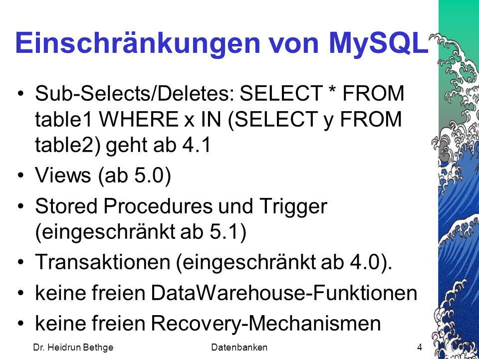 Einschränkungen von MySQL