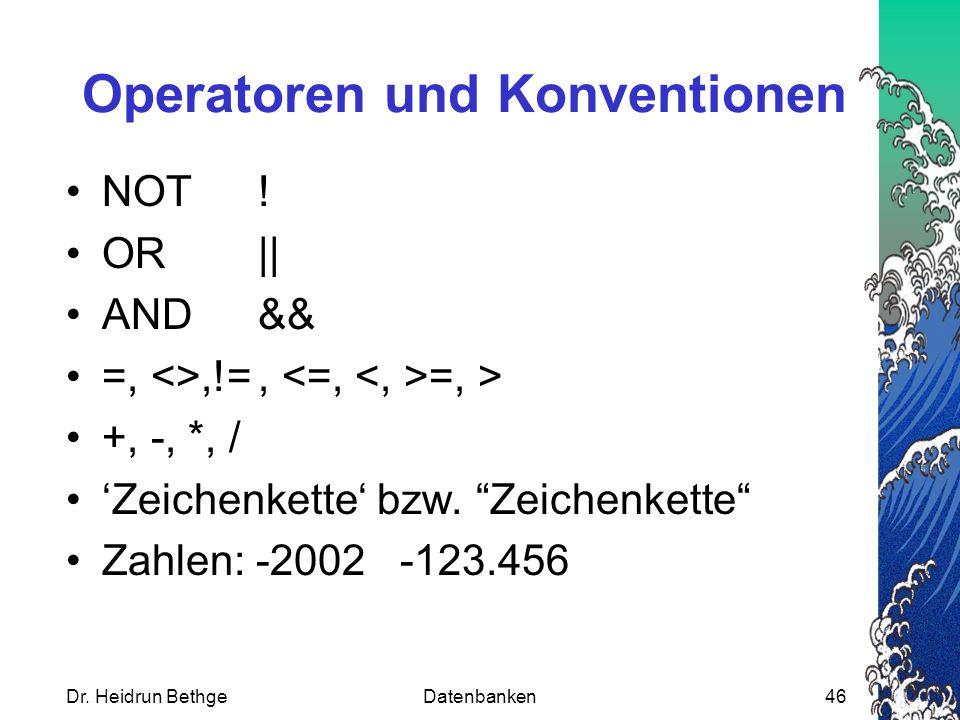 Operatoren und Konventionen