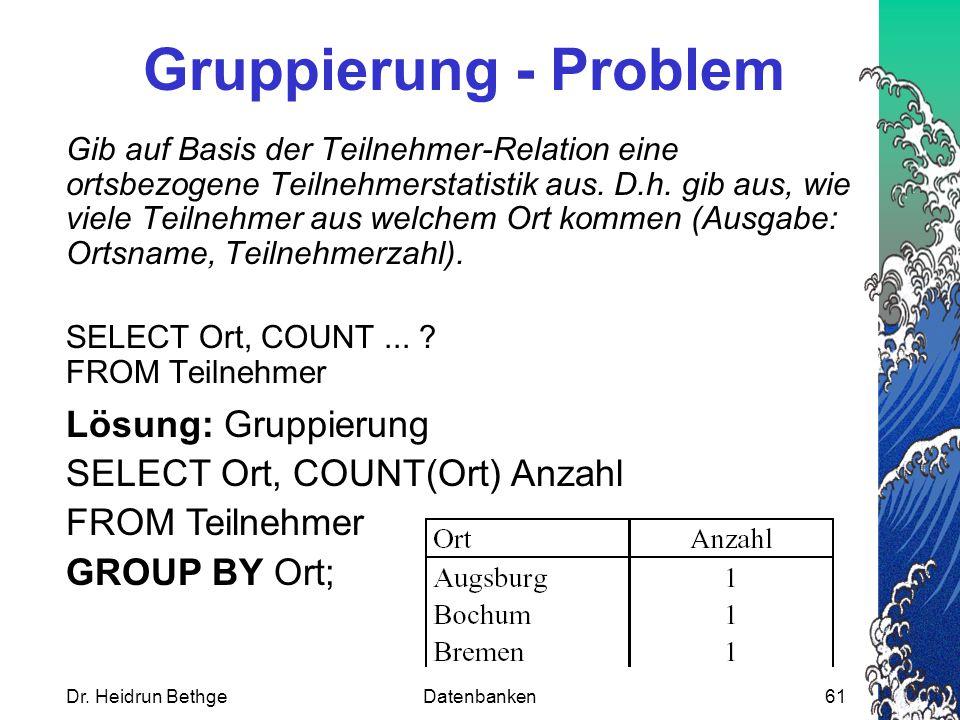 Gruppierung - Problem Lösung: Gruppierung