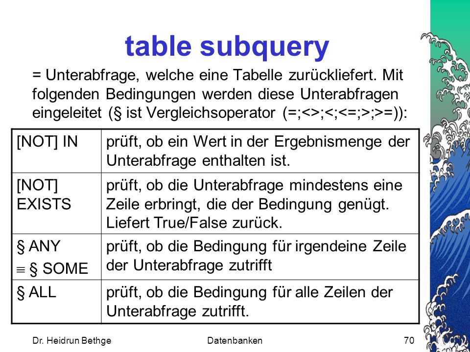 table subquery