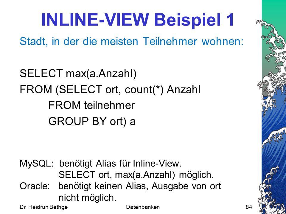 INLINE-VIEW Beispiel 1 Stadt, in der die meisten Teilnehmer wohnen: