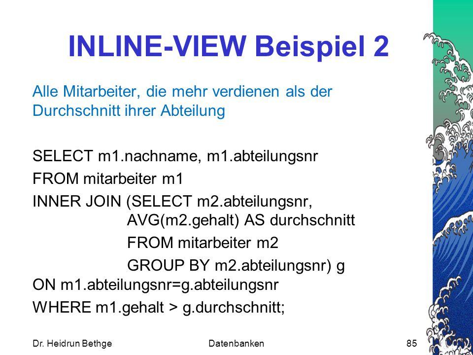 INLINE-VIEW Beispiel 2