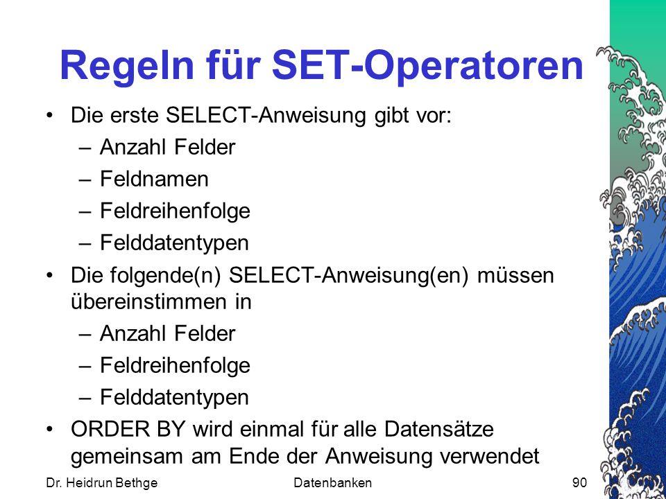 Regeln für SET-Operatoren