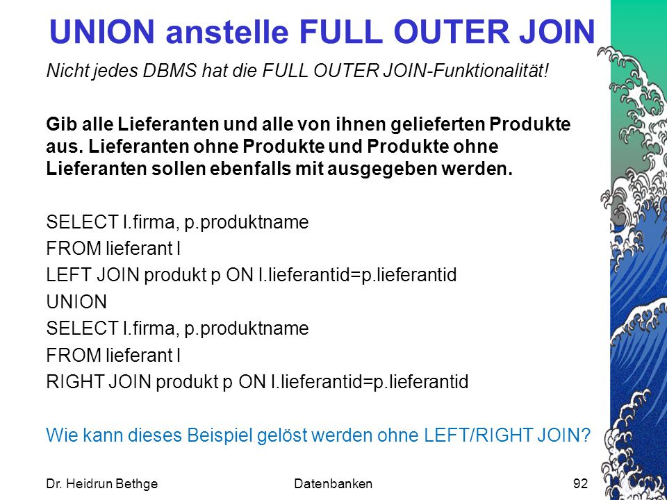UNION anstelle FULL OUTER JOIN