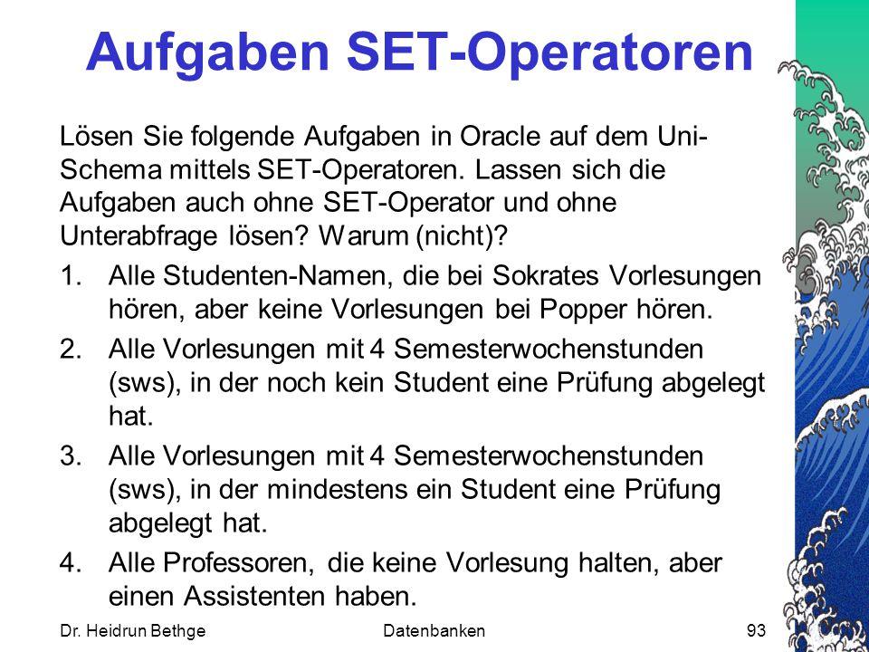 Aufgaben SET-Operatoren