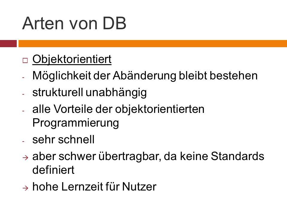 Arten von DB Objektorientiert