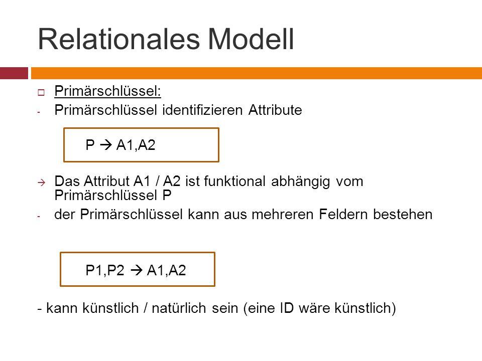 Relationales Modell Primärschlüssel: