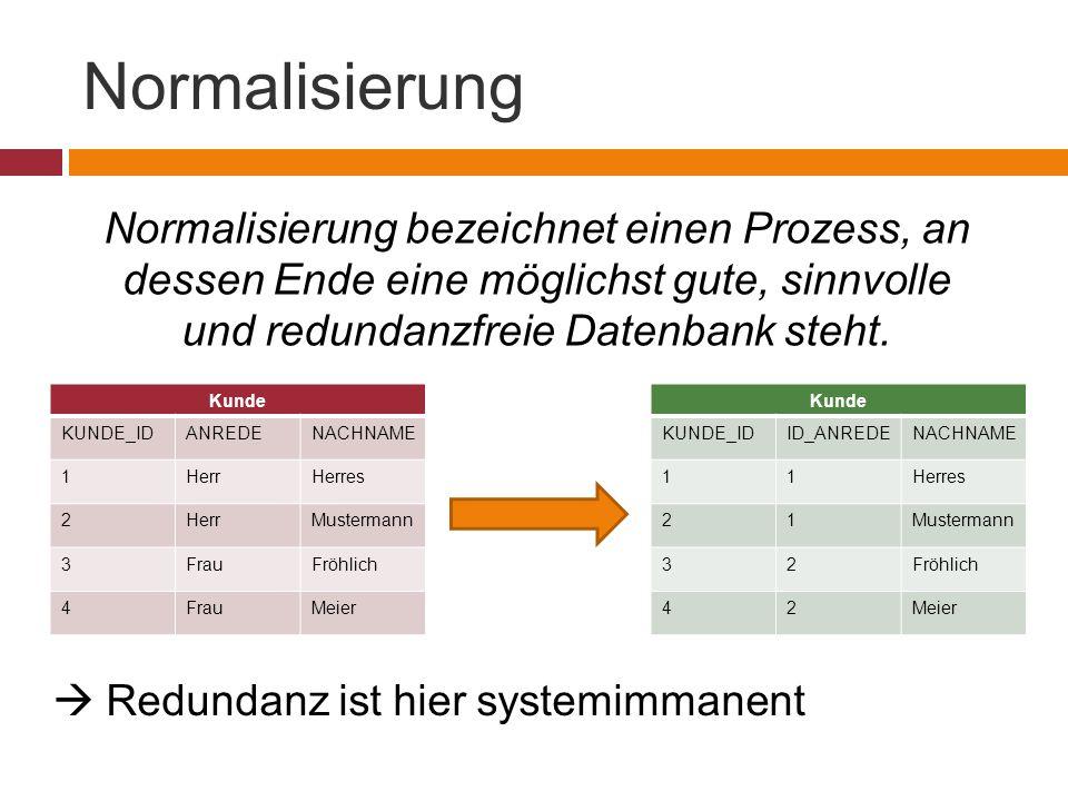Normalisierung Normalisierung bezeichnet einen Prozess, an dessen Ende eine möglichst gute, sinnvolle und redundanzfreie Datenbank steht.