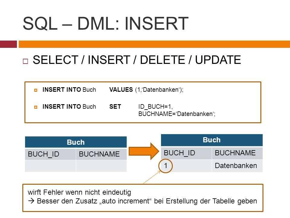 SQL – DML: INSERT SELECT / INSERT / DELETE / UPDATE Buch BUCH_ID